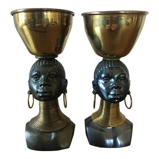 George Trevino Bronze African Women Bust Cups - A Pair