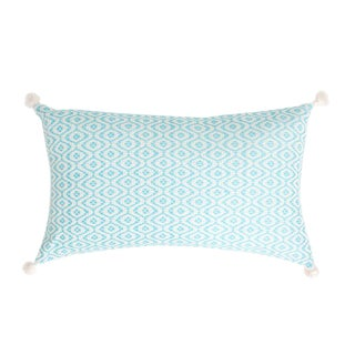 Aqua Handwoven Mexican Pillow