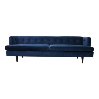Ed Wormley for Dunbar Navy Velvet Tuxedo Sofa