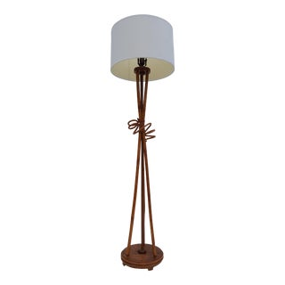 Paul Frankl Style Bamboo Floor Lamp.