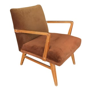 Velvet Mid-Century Teak Chair