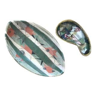 Mid-Century Ceramic Rosemary Goldfein Zwick Plates - A Pair