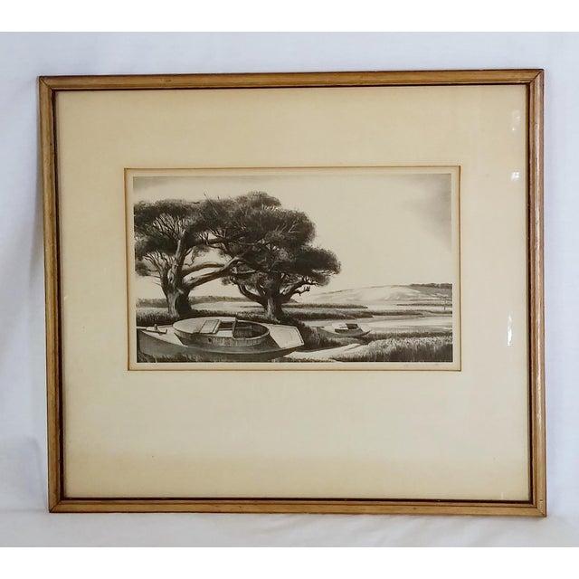 "Framed & Signed Print, ""Boats at Low Tide"" - Image 2 of 5"