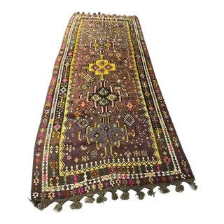 Vintage Anatolian Kars Kilim Rug - 4′6″ × 11′5″