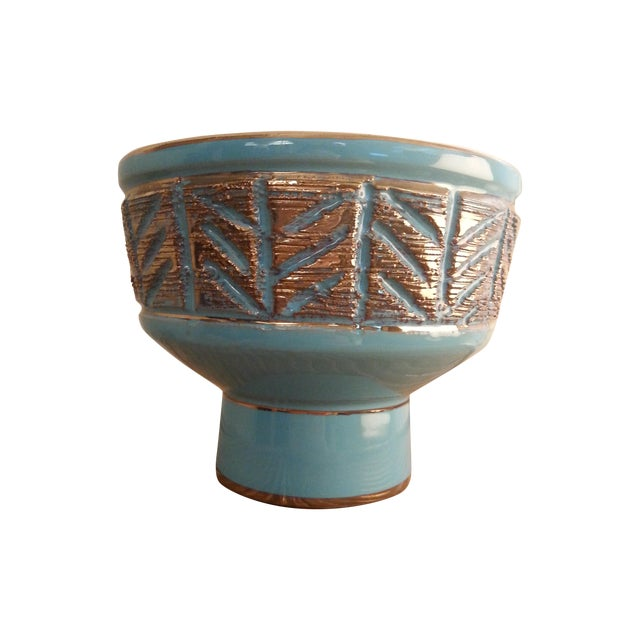Vintage Italian Blue & Gold Footed Bowl - Image 1 of 8