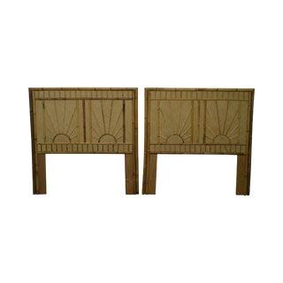Rattan & Bamboo Sunburst Pair of Twin Headboards