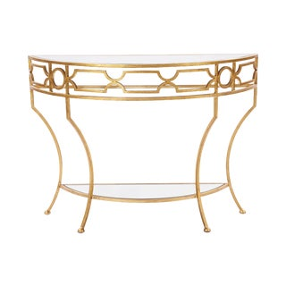 Gold Caterina Console Table with Mirrored Top