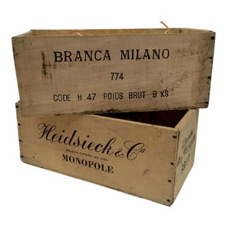 Vintage French Champagne Crates - A Pair