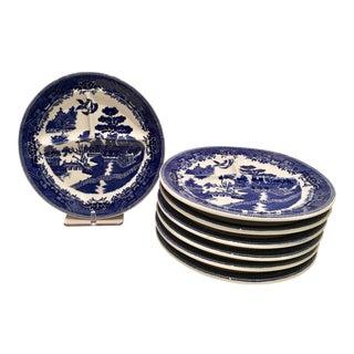 "Vintage Blue & White Shenago ""Willow"" Divided Plates - Set of 7"