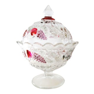 """Vintage Westmoreland Flashed Glass """"Della Robbia"""" Covered Compote"""
