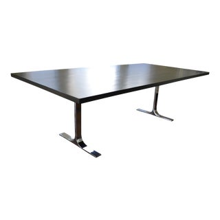 Custom Ebony Wood Table With Polished Steel Legs