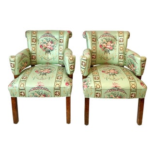 Lee Jofa Green Floral Upholstered Chairs - A Pair
