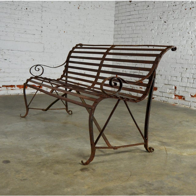 Antique 19th Century Forged Strap Iron Garden Bench - Image 9 of 10