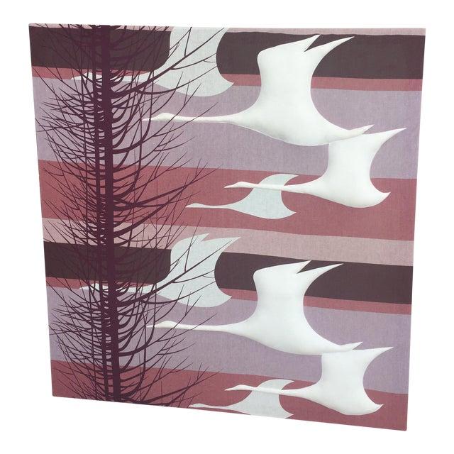 Vintage Puffed Geese on Purple Textile Art - Image 1 of 6