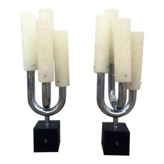 Modern Tubular Chrome Table Lamps - A Pair