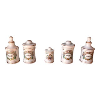 Antique Porcelain Apothecary Vanity Jars - Set of 5