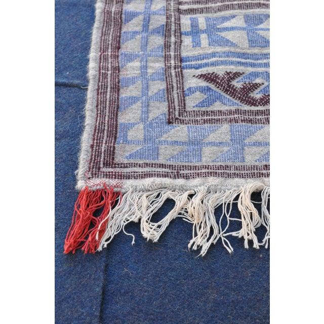 "Moroccan Flatweave Violet & Blue Rug - 4'10"" x 7' - Image 3 of 8"