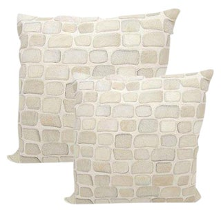 "Premium Leather & Cowhide Pillows in Pebble Pattern 20""x20"""