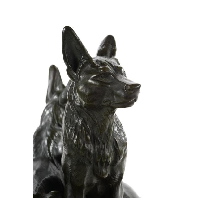 Carvin German Shepherds Dogs Bronze Sculpture - Image 9 of 9