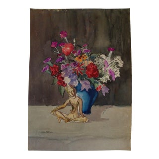 Mid-Century Chinoiserie Watercolor Still Life With Buddha
