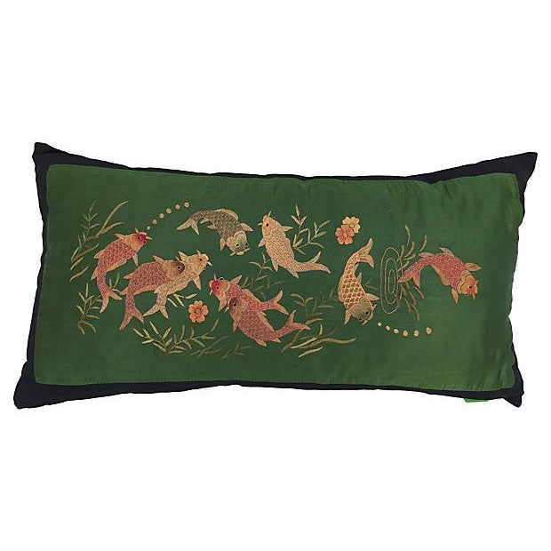 Embroidered Koi Fish Silk Pillow - Image 1 of 4