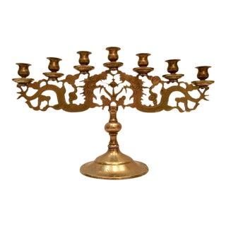 Antique Chinese Brass Dragon 7-Light Candelabra