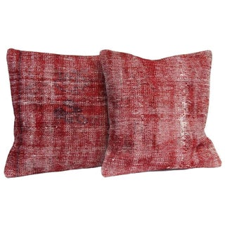 Red Over-Dyed Rug Pillow Covers - A Pair