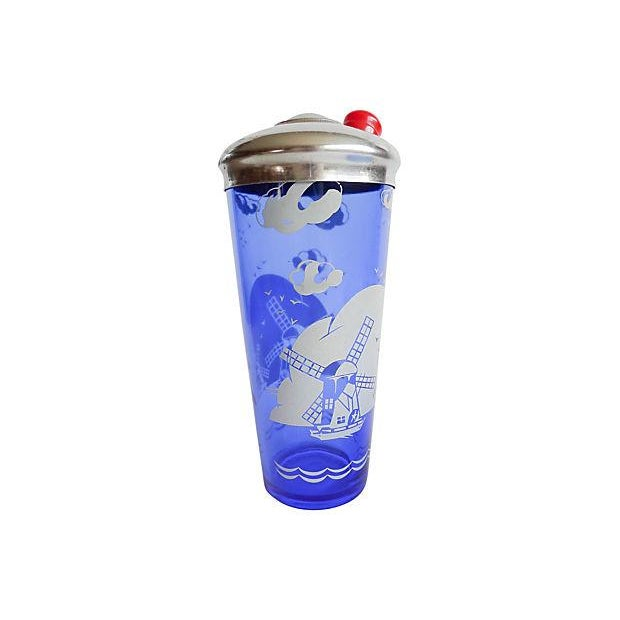 Image of Vintage 1950s Blue Cocktail Shaker & Ice Bucket