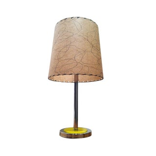 Mid-Century Chrome Table Lamp in Yellow