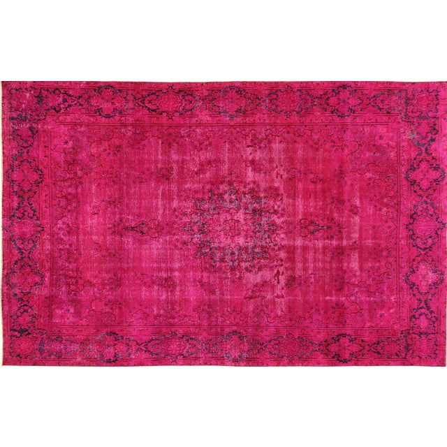"Pink Overdyed Oriental Floral Rug - 9'6"" x 14'10"" - Image 1 of 10"