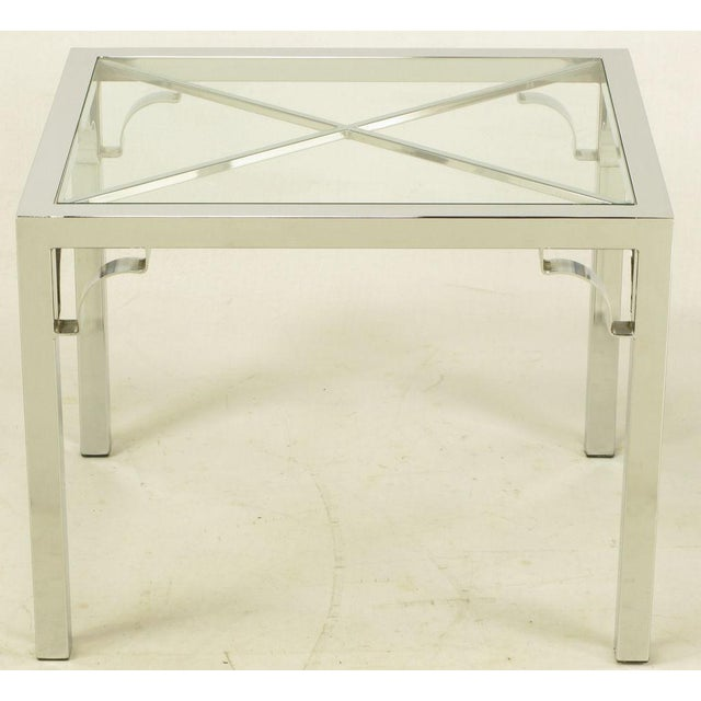 Image of Chrome Parsons Style Chinese Chippendale X-Top End Table