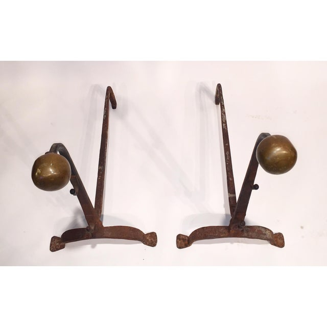 Image of Vintage Solid Bronze Andirons - Pair