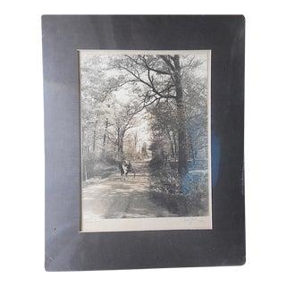 "Mid 20th C. Signed Fine Art Photograph-""Shady Lane""-Norah Yeakle"