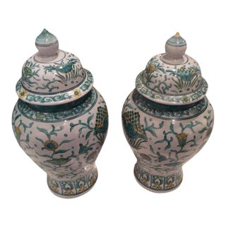 Vintage Green Asian Oriental Greek Key Hollywood Regency Ginger Jars - a Pair