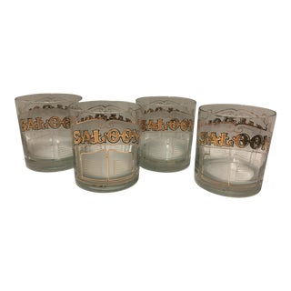 Culver White & 22k Gold Double Old Fashion Saloon Glasses- Set of 4