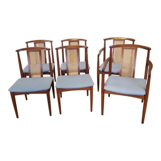 1950s Vintage Dynasty Furniture & Furnishings Danish Modern Style Teak Caned Back Dining Room Chairs - Set of 6