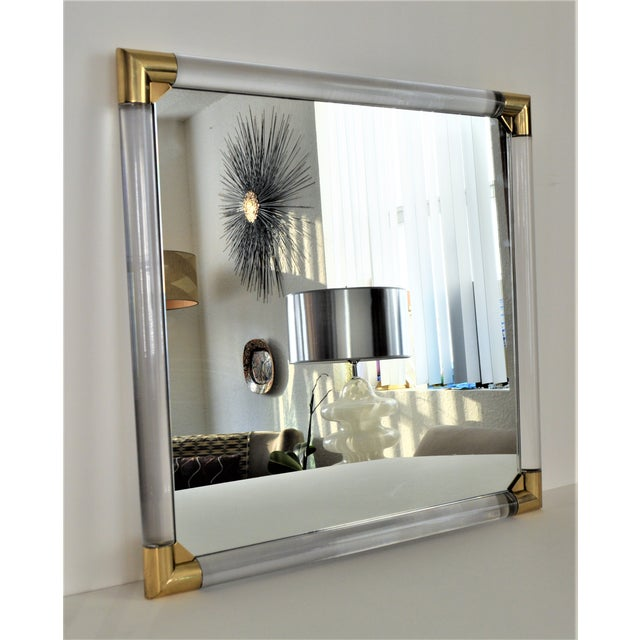 Mid-Century Modern Lucite & Brass Wall Mirror Charles Hollis Jones Style - Image 4 of 11