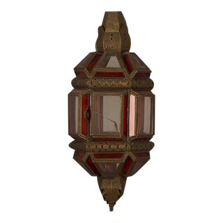 Large Vintage Moroccan Brass Wall Sconce with Ruby Red and Clear Glass Panels