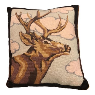 Needlepoint Deer Pillow with Velvet Back