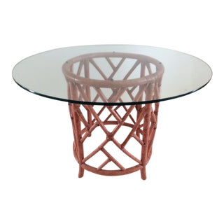 Vintage Rattan Chippendale Drum Pedestal Table