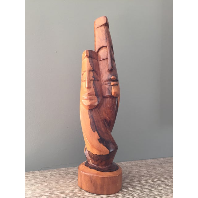 Image of Mid-Century Modern Carved Wood Sculpture