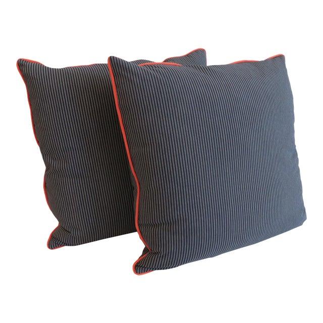 Custom Navy Stripe & Orange Trim Pillows - A Pair - Image 1 of 4