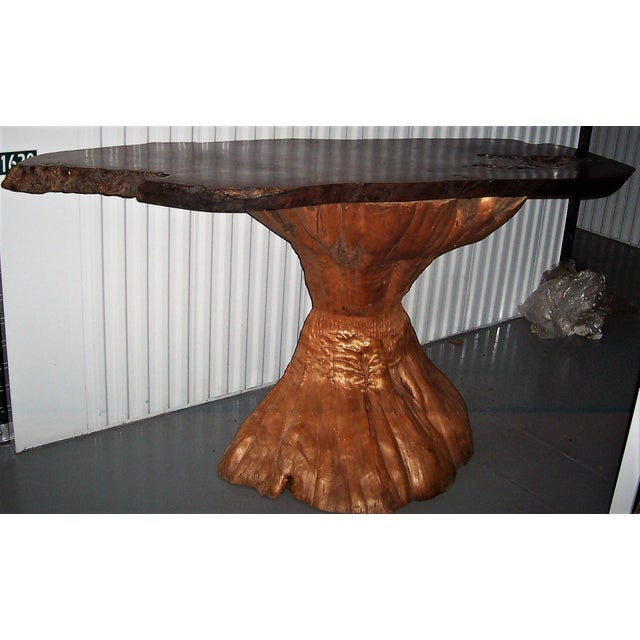 Image of Live Edge Burl Wood Bar Console Table