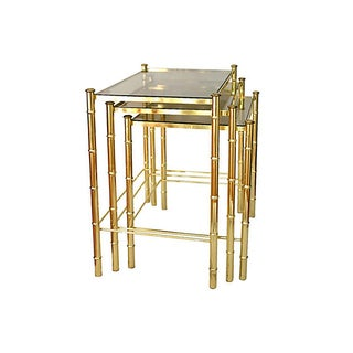 Faux Bamboo Brass Nesting Tables - S/3