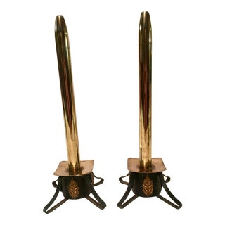 Mediterranean Wrought Iron & Brass Oil Candles- A Pair