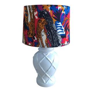 Vintage Palm Beach Regency White Faux Bamboo Lamp