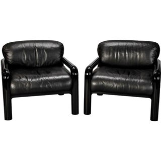 Gae Aulenti for Knoll International Black Leather Arm Chairs - Pair