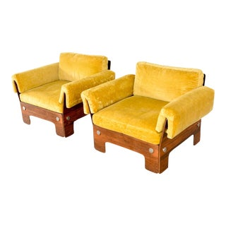 Mid-Century 1970s Glam Rosewood Lounge Chairs - a Pair