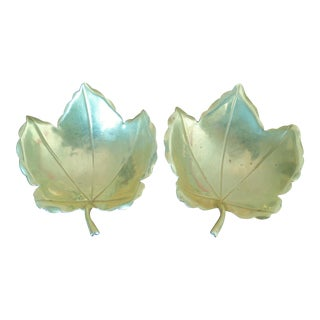 Handmade Brass Maple Leaf Serving Dishes - A Pair