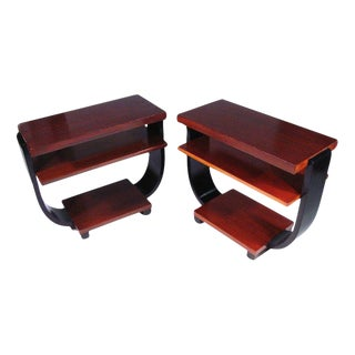 Brown Saltman Art Deco Three-Tier Side Tables